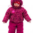 Baby walk by snow near winter park — Stock Photo