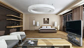 Luxury bedroom interior in daylight — Stok fotoğraf