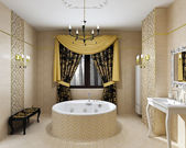 Luxury bathroom interior in daylight — Stok fotoğraf