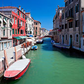 View of beautiful colored venice canal, Italy — Stock Photo