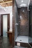 Quarto com chuveiro em salão de spa de luxo da massagem — Fotografia Stock