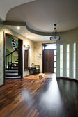 Interior of entrance hall with sleeping dog — Stock Photo