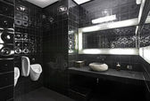 Black and white restroom — Stock Photo