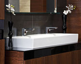 Composition in modern bathroom interior — 图库照片