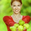 Young woman in red blouse with pears — Stock Photo #12798710