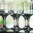 Six empty crystal wine glasses - Photo