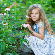 Ittle girl with curly hair about growing flowers - Stock Photo