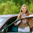 Smiling beautiful young woman-driver near car — Stock Photo