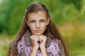Portrait closeup of beautiful young woman — Stock Photo