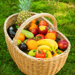Wicker basket with fruits and vegetables — Stockfoto