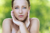 Young woman with bared shoulders — Stock Photo