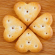 Four heart-shaped cookies — Stock Photo