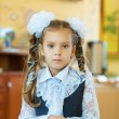 Little girl with big white bows — Stock Photo