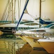Yachts parked on mooring - Stock Photo