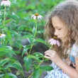 Little girl smelling flower garden — Stock Photo