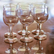 Six empty crystal wine glasses — Foto Stock