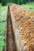 Earthen trench — Stock Photo