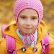 Little girl close-up in pink knapsack — Stock Photo