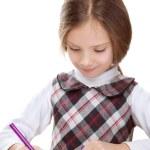 Little girl draws felt-tip pen on paper — Stock Photo #21624441