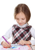 Little girl draws felt-tip pen on paper — Stock Photo
