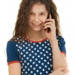 Stock Photo: Little smiling girl with phone