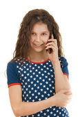 Little smiling girl with phone — Stock Photo