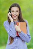 Teenage girl on cell phone says — Stock Photo