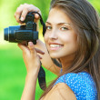 Portrait young charming woman camera — Stock Photo #25495181