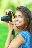 Portrait young charming woman camera — Stock Photo