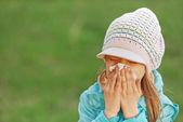 Girl with handkerchief — Stock Photo