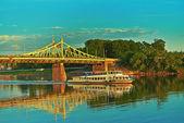 Metal bridge in city of Tver — Stock Photo