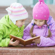 Two little girls in coats reads book — Stock Photo #27077271