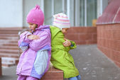 Little sisters had falling — Stock Photo