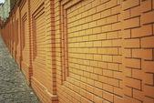 Wall of orange brick — Stock Photo