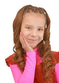 Sorridente studentessa in abito rosa — Foto Stock