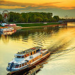 Постер, плакат: Motor ship sails on river Volga