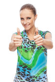 Girl showing thumb up — Stock Photo