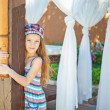 Stock Photo: Heerful girl in dress