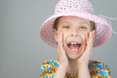 Beautiful young girl shouts — Stock Photo