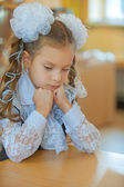 Little first grader sad — Stock Photo