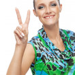 Girl showing two finger - victory — Stock Photo
