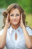 Portrait of pretty brunette woman — Stock Photo