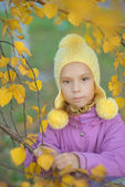 Pretty little girl in autumn park — Stock Photo