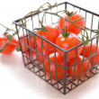 Basket with ripe tomatoes — Stock Photo
