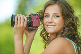 Portrait young charming holding hands camera — Stock Photo
