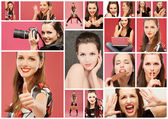 Collage with photos of girls — Stock Photo