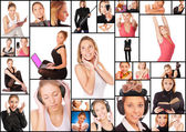 Collage with photos of beautiful young woman — Stock Photo