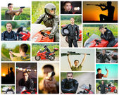 Virile man with sniper rifle or motorcycle. — Stock Photo