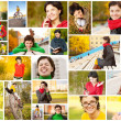 Collage of young woman in fall — Stock Photo