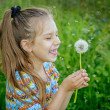 Little girl blowing ondandelion — Stock Photo